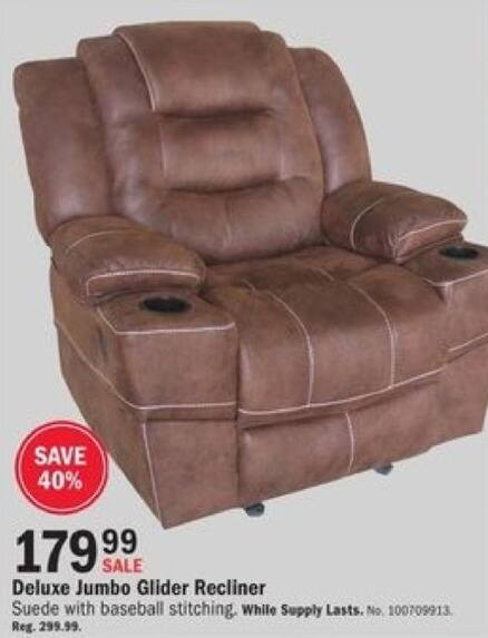 Mills Fleet Farm Black Friday: Discover Home Brown Suede Glider Recliner for $179.99
