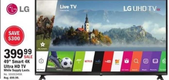 "Mills Fleet Farm Black Friday: LG 49"" 4K Ultra HD Smart TV for $399.99"