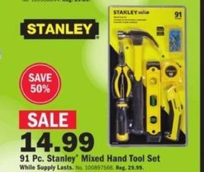 Mills Fleet Farm Black Friday: Stanley 91-pc. Mixed Hand Tool Set for $14.99