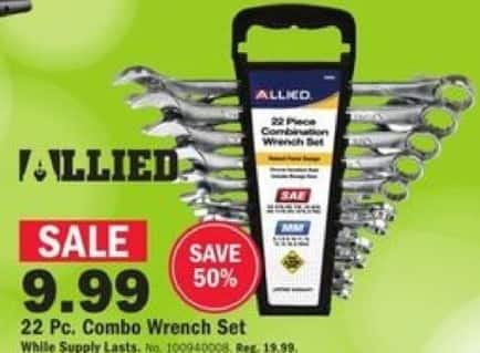 Mills Fleet Farm Black Friday: Allied 22-pc. Combo Wrench Set for $9.99