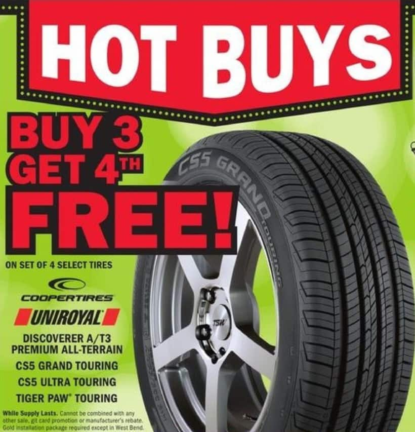 Mills Fleet Farm Black Friday: On Set Of 4 Select Tires. Coopertires, Uniroyal, Discoverer/T3 Premium All-Terrain, CS5 Grand Touring, CS5 Ultra Touring, Tiget Paw Touring - B3 Get 4th Free