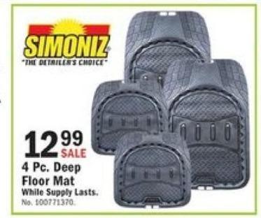 Mills Fleet Farm Black Friday: Simoniz 4 Pc. Deep Floor Mat for $12.99