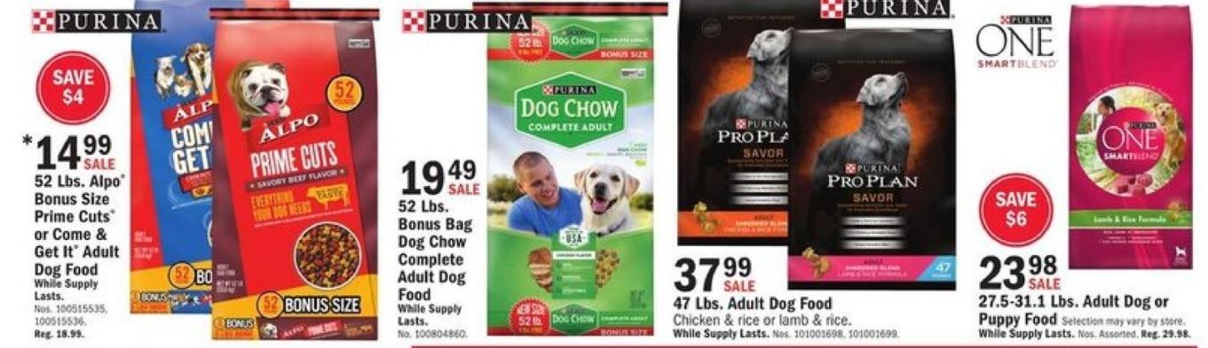 Mills Fleet Farm Black Friday: Purina  52 Lbs. Bonus Bag Dog Chow Complete Adult Dog Food for $19.49