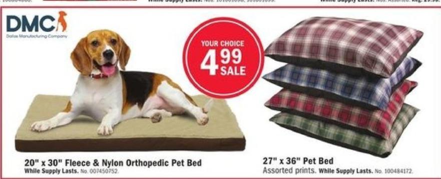 Mills Fleet Farm Black Friday: DMC Fleece & Nylon Orthopedic Pet Bed for $4.99