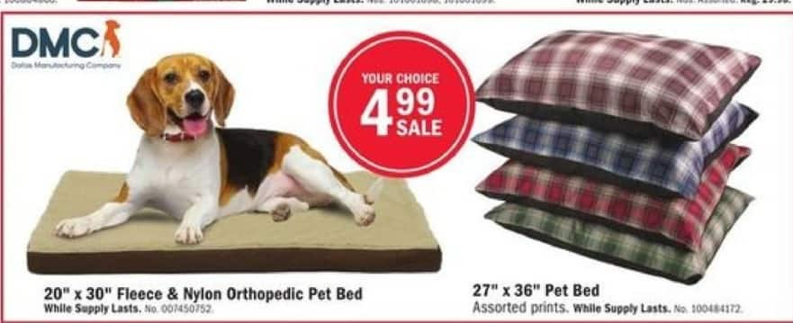 "Mills Fleet Farm Black Friday: DMC 27"" x 36"" Pet Bed (Assorted Prints) for $4.99"