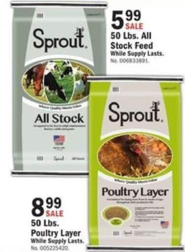 Mills Fleet Farm Black Friday: Sprout 50 Lbs.  All Stock Feed for $5.99