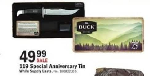 Mills Fleet Farm Black Friday: Buck Knives 119 Special Anniversary Tin for $49.99