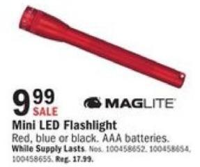 Mills Fleet Farm Black Friday: Maglite Mini AAA LED Black Flashlight. In Red, Blue, or Black. for $9.99