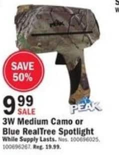 Mills Fleet Farm Black Friday: 3W Medium Camo Or Blue Realtree Spotlight for $9.99