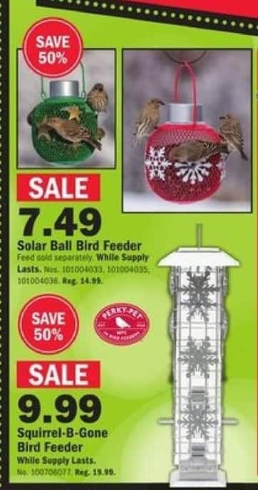 Mills Fleet Farm Black Friday: Solar Ball Bird Feeder In Red Or Green for $7.49