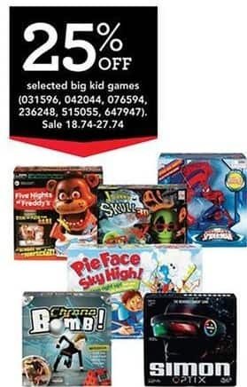 Toys R Us Black Friday: Big Kid Games (Select) Five Night At Freddy's, Fotorama The Visions of Johnny The Skull 3D,Simon Optox, Chrono Bomb, Pie Face Sky High for $18.74 - $27.74