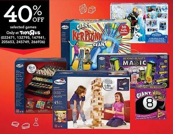 Toys R Us Black Friday: Select Games. Giant Kerplunk, Giant Magic 8 Ball,Beyond Reality Magic, Pavilion Games Giant Tumbling Tower,Pavilion Games 10 in 1 Game Set, Frozen 12 Puzzle