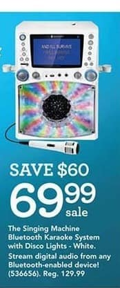 Toys R Us Black Friday: The Singing Machine White Bluetooth Karaoke System w/ Disco Lights. for $69.99