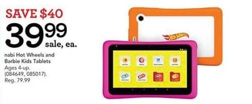 Toys R Us Black Friday: Nabi Hot Wheels And Barbie Kids Tablets for $39.99