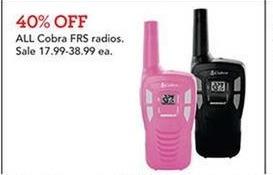 Toys R Us Black Friday: All Cobra FRS Radios - 40% Off
