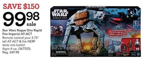 Toys R Us Black Friday: Star Wars Rogue One Rapid Fire Imperial AT-ACT for $99.98