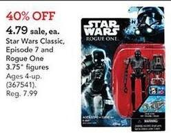 "Toys R Us Black Friday: Star Wars Classic Episode 7 And Rogue One 3.75"" Figures for $4.79"