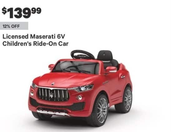Groupon Black Friday: Licensed Maserati 6V Children Ride-On Car for $139.99