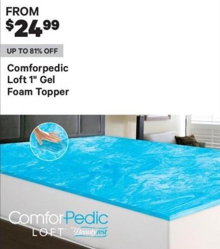 "Groupon Black Friday: Comforpedic Loft 1"" Gel Foam Topper - From $ 24.99"
