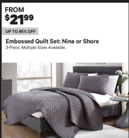 Groupon Black Friday: 3-Piece Embossed Nina Or Shore Quilt Set (Multiple Sizes Available) - From $21.99