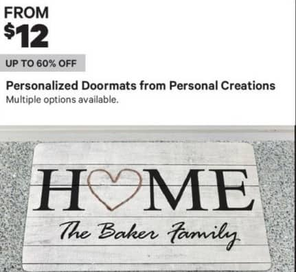 Groupon Black Friday: Personal Creations Personalized Doormats - From $ 12