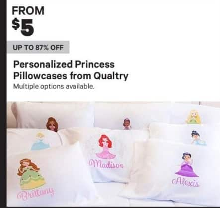 Groupon Black Friday: Qualtry Personalized Princess Pillowcases - From $5.00