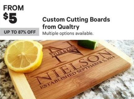 Groupon Black Friday: Qualtry Custom Cutting Boards (Multiple Options Available) - From $5.00
