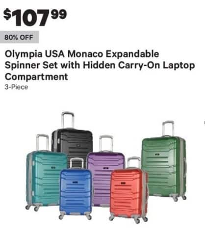 Groupon Black Friday: 3-Piece Olympia USA Monaco Expandable Spinner Set w/ Hidden Carry-On Laptop Compartment for $107.99