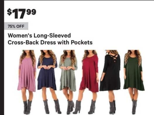 Groupon Black Friday: Long-Sleeved Women's Cross-Back Dress w/ Pockets for $17.99