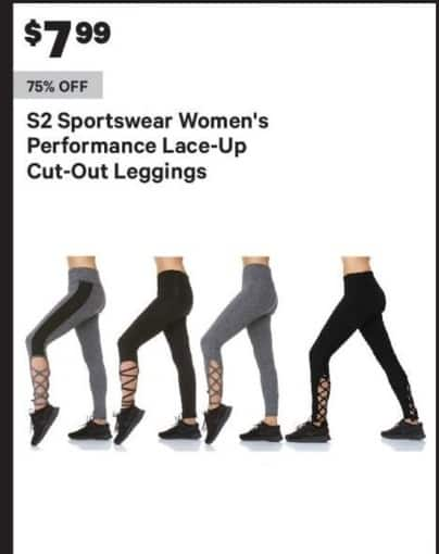 Groupon Black Friday: S2 Sportswear Women's Performance Lace-Up Cut-Out Leggings for $7.99