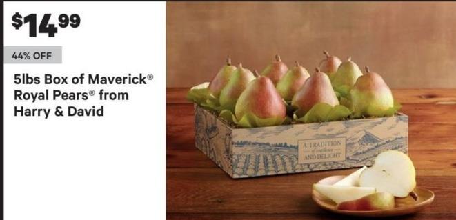Groupon Black Friday: Harry & David 5-lb Box Of Maverick Royal Pears for $14.99