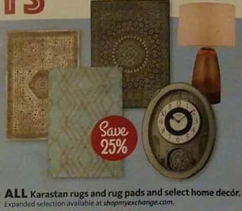 AAFES Cyber Monday: All Karastan Rugs And Rug Pads And Select Home Decor. - Save 25%