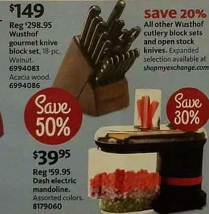 AAFES Cyber Monday: Wusthof Gourmet 18-pc. Acacia Promo Knife Block Set In Walnut Or Acacia Wood for $149.00