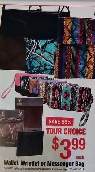 Menards Black Friday: Wallet, Wristlet or Messenger Bag (Assorted Styles, Pillow, and Colors Including Real Tree Camouflage) for $3.99