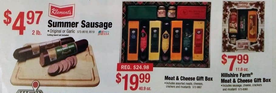 Menards Black Friday: Hillshire Farm Meat & Cheese Gift Box. (Includes Sausage, Cheese, Crackers, and Mustard) for $7.99