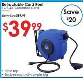 """Rural King Black Friday: Retractable Cord Reel  w/ 12/3 40"""" Grounded Cord for $39.99"""