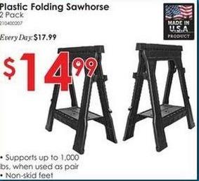Rural King Black Friday: 2 Pack Plastic Folding Sawhorse for $14.99