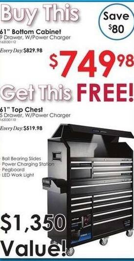 "Rural King Black Friday: 61"" 9 Drawer  Bottom Cabinet W/ Power Charger + 61"" 5 Drawer w/Power Charger (FREE) for $749.98"