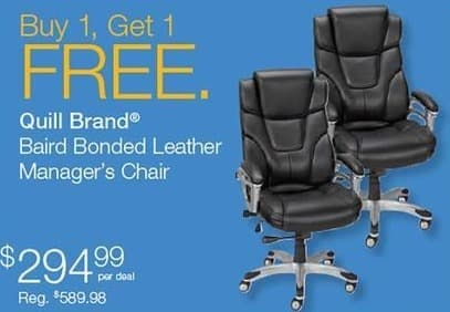 Quill Cyber Monday: Quill Brand Baird Bonded Leather Manager's Chair - B1G1  Free