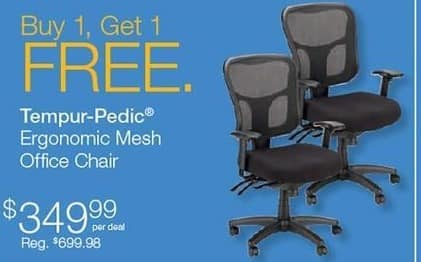 Quill Cyber Monday: Tempur-Pedic Ergonomic Mesh Office Chair - B1G1  Free