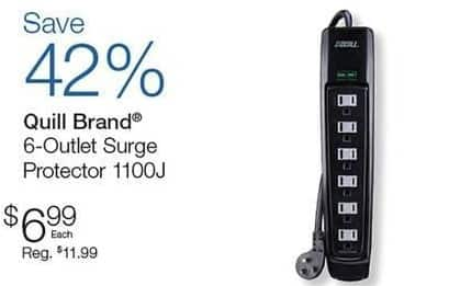 Quill Cyber Monday: Quill Brand 6-Outlet Surge Protector (1100J) for $6.99