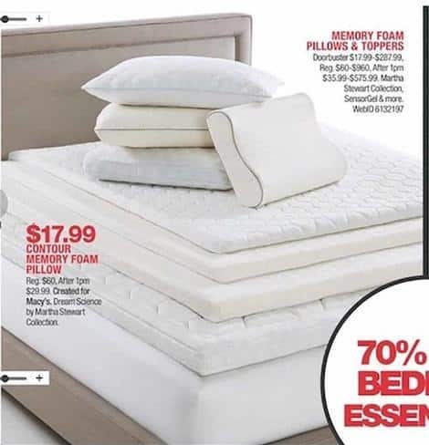 Macy S Black Friday Memory Foam Pillows Toppers From Martha