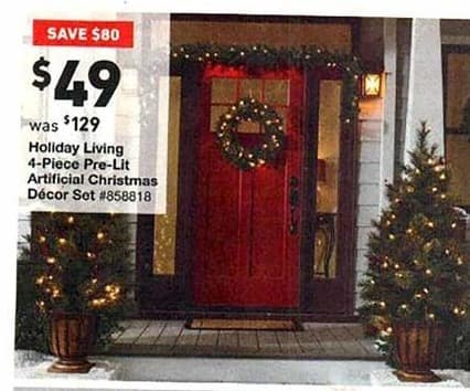 lowes black friday holiday living 4 piece pre lit artificial christmas decor for