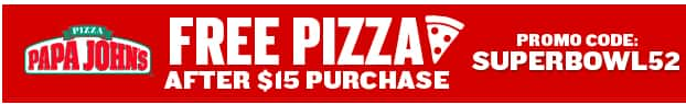 Papa John's Pizza - Free Large Pizza (Future Order) When You Spend $15 or more (1/29/18 to 2/4/18)