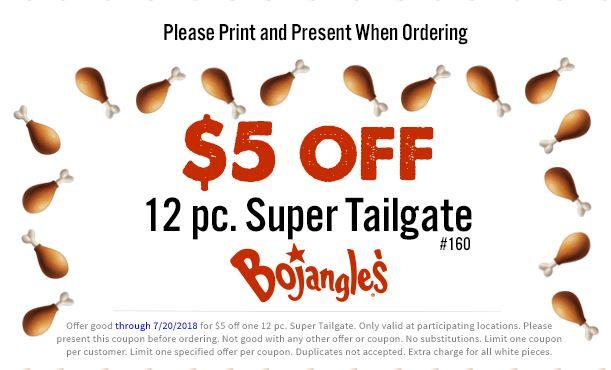 Bojangles' - $5 Off 12 Piece Super Tailgate - Valid Until 7/20/18