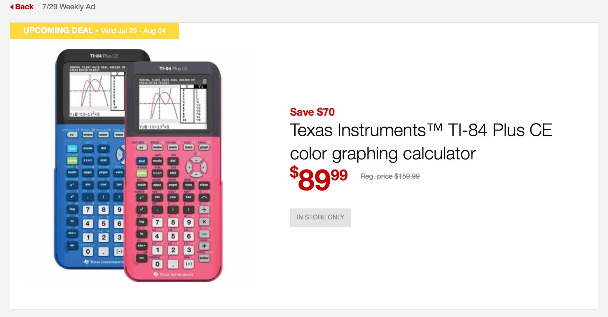 Ti 84 Plus Ce Graphing Calculator 8999 At Staples Starting 72918