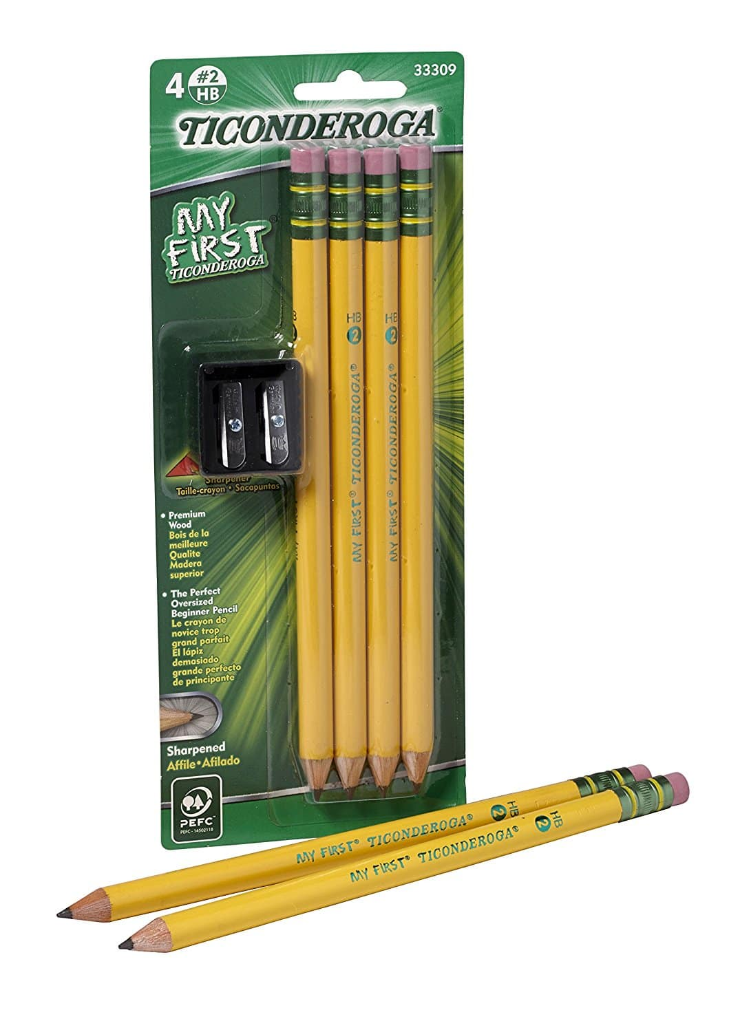 $1.42 shipped My First Ticonderoga Primary Size #2 Beginner Pencils, Pre-Sharpened, 4 Pencils with Bonus Sharpener, Yellow (33309) w/ Prime @ Amazon