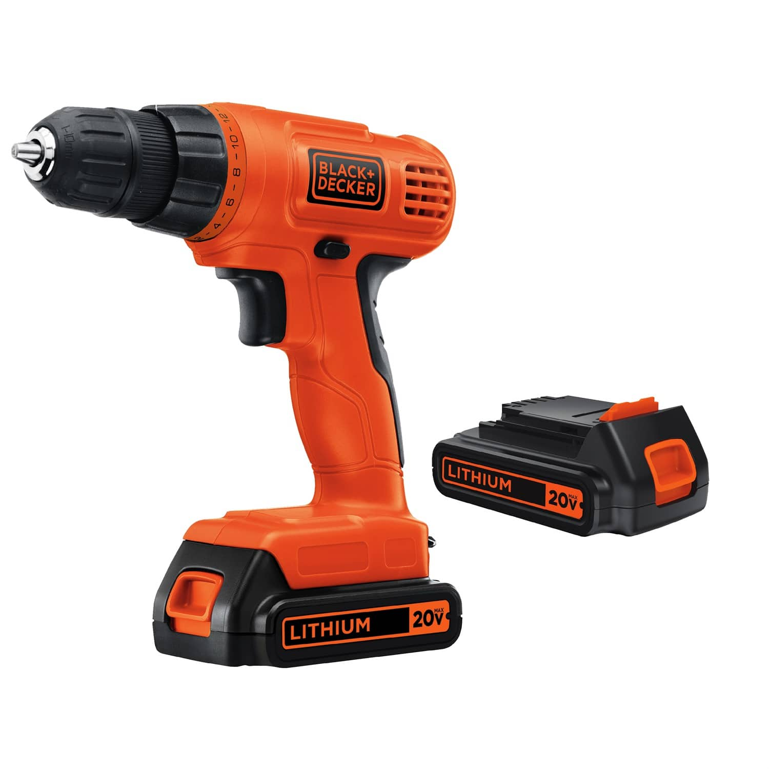 BLACK+DECKER 20-Volt MAX Lithium Ion Cordless Drill with 2 Batteries for $40 @ Walmart