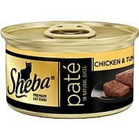 Amazon Deal: Sheba Pate Wet Cat food Chicken and Tuna flavor 3oz-24ct $6.00