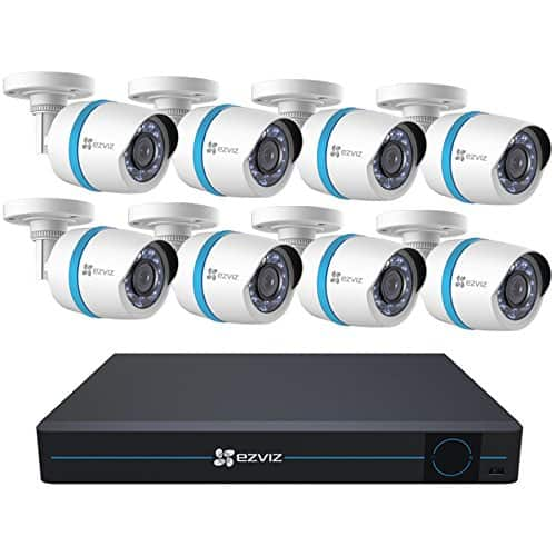 EZVIZ Home Security Camera System 8 Weatherproof 1080p IP PoE Bullet Cameras, 16 Channel NVR with 3TB HDD, 100ft Night Vision for $575.99 AC